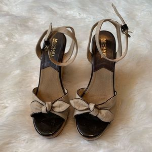 Michael Kors wedge Sandals Size 6 1/2 brown